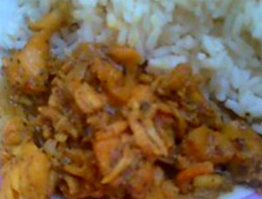 curried conch and cooked rice