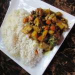 Jamaican curry chicken with potatoes and carrots