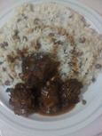 cooked turkey neck with cooked gungo rice