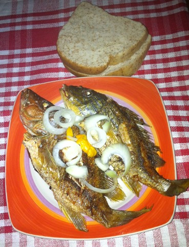 fried fish and bread