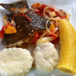 Corn dumpling and boiled fish