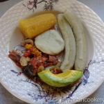 Salt mackerel with dumpling and green bananas