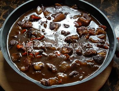 Jamaican brown stew cow head
